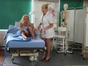 Horny Milf has amazing toe fucking treatment from hot nurse