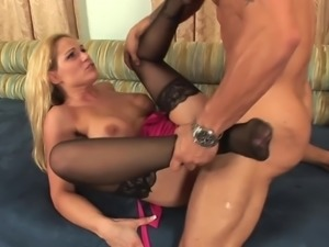 Blonde big tits milf in stockings fucks on the couch