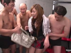 Young Japanese schoolgirl in a fuck and suck gangbang
