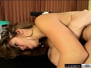 Big-breasted sex goddess uses her tits to work this immense prick