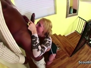 Black Monster Cock Fucks Blonde MILF Mom in Lingerie