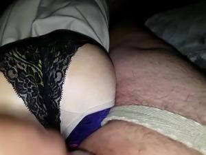cumshot on my moms black panties