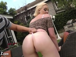 WANKZ - Big Booty Blonde Gets Her Round Ass Glazed With Cum!
