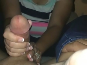 Milking a hard cock