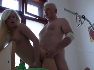 Sick grandpa gets fucking treatment from young horny nurse