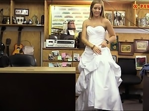 Hot babe pawns wedding dress and banged by pawn keeper