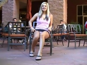hotwife removes panties in very public place