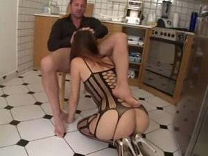 Horny anal babe gets fucked in a hot kitchen blowjob and bang action