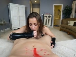 Kinky leather outfit is hot as hell on fuck slut Dani Daniels