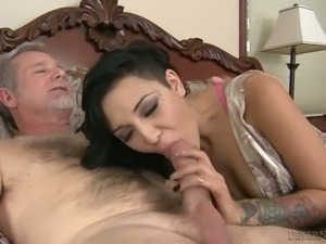 Horny old dude sends big fat cock in sleek tight pussy