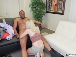 skinny blonde rides a monster black cock