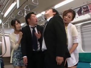 Hardcore foursome on the subway train with Asian sluts