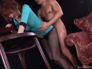 Classy Japanese MILF in ripped pantyhose gets fucked roughly