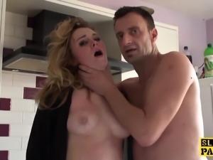 British sub slut doggystyled before squirting