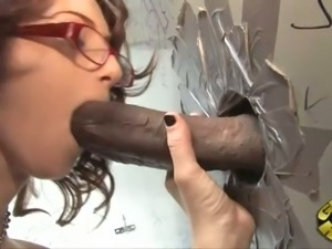 Shy looking brunette GF in glasses Cameron Love swallows BBC through fancy hole