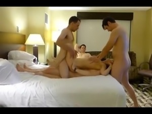 Husband Watch Two Young Cocks Fuck His Wife At Hotel