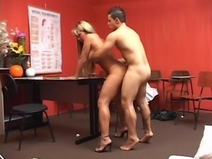 Busty shemale fucks her student