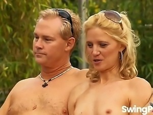 Excited young wives get naughty during hot swinger sex party