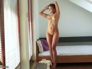 Sensual babe Eva Kerstin takes off white panties and stimulates clit