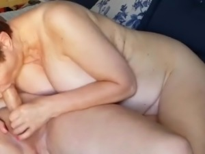 mature kathy slurping on my thick cock