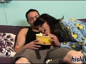 Horny chick devours her guy large cock