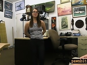 Beautiful babe with glasses railed by pervert pawn guy