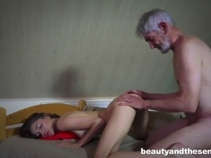 Mature guy gives the pretty girl all that she ever wanted