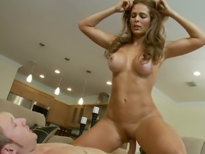 Cougar Monique Fuentes saves time and fucks young stud right in the guest room