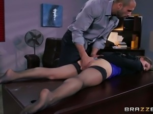 Sexy secretary allows kinky boss to play with her stretched pussy curtains