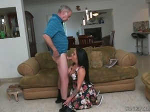 Brunette seductress Aria Rose sucks incredibly old dick
