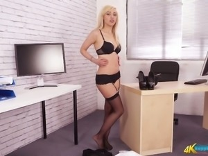 Sexy chick Fifi takes off uniform and shows lingerie