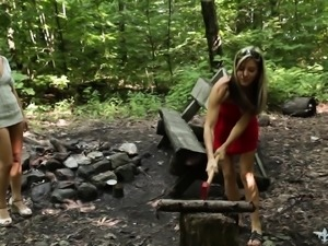 Insatiable young girls play out their sexual fantasies in the outdoors