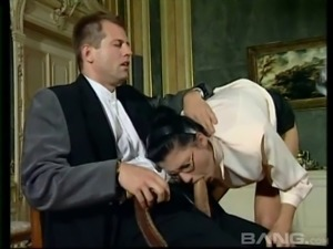 Secretary offers her mouth and ass to her horny boss