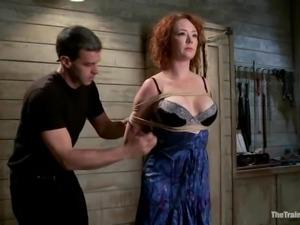 Audrey Hollander gets her holes toyed to orgasm in BDSM scene