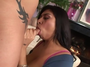 Latina with amazing tits gets hard white cock thrusting
