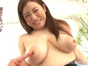 Heaving Japanese bosom exposed so he can lick her nipples