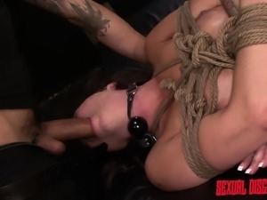 Ravishing redhead with big boobs Kali Kavalli is addicted to bondage