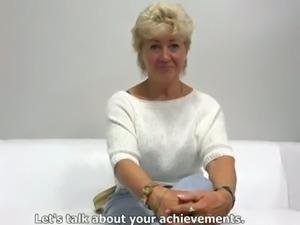 Mature blonde amateur lady from Czech Republic has fine breasts