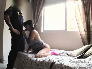 Fake cop bangs huge boobs brunette amateur babe