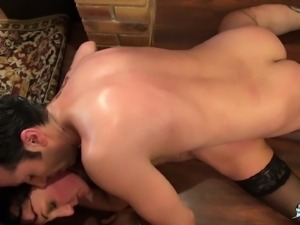 La Cochonne - Mature French brunette takes anal and facial