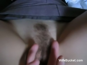 Mature white wife got her hairy muffin stuffed with a cucumber