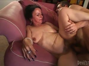 Old slutty bitch Miss Nina Swiss gets her hairy kitty destroyed in sideways...