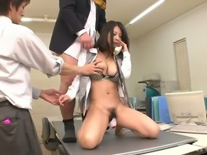 Buxom Japanese sweetie Satomi Suzuki likes when several guys tickle her hairy...