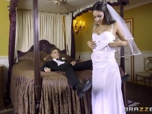 Bachelor party gone wild as bride involved in a heated threesome before her...