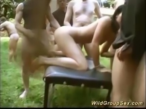 Wild outdoor german swinger groupsex fuck party with horny anal loving chicks