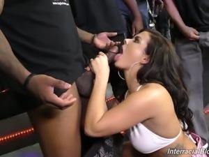White bitch Keisha Grey got covered in jizz in interracial threesome