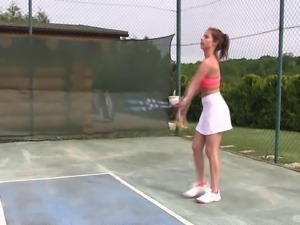 Impeccable chick goes totally wild on the tennis court