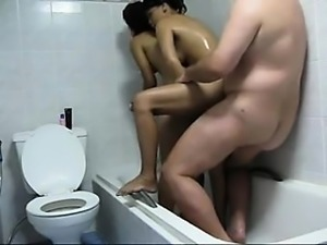 Man with 2 indian hookers within the bath- homemade