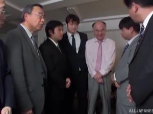 Busty Asian slut gets gang banged by horny businessmen