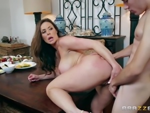 horny stud fucked hot milf at the dinner table